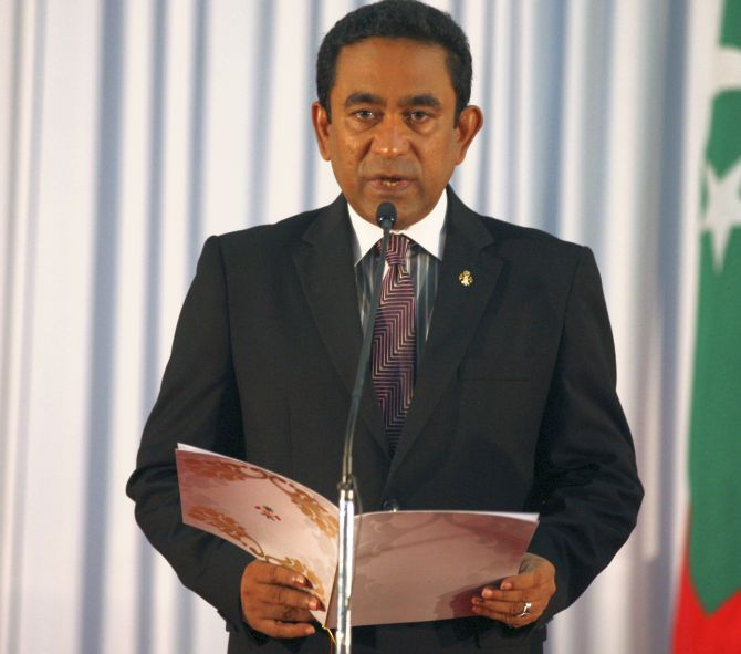 Maldives President Abdulla Yameen. Photograph: Waheed Mohamed/Reuters