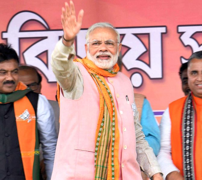 Prime Minister Narendra D Modi at an election rally in Sonamura, Tripura. Photograph: PTI Photo