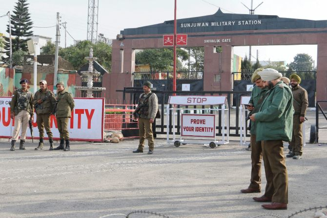 Six soldiers were killed in the terror attack on the the Sunjuwan military base in Jammu, February 10-11. Photograph: PTI Photo