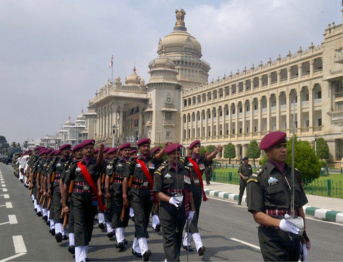 Pradeep Arya leading the Territorial Army Passing out Parade
