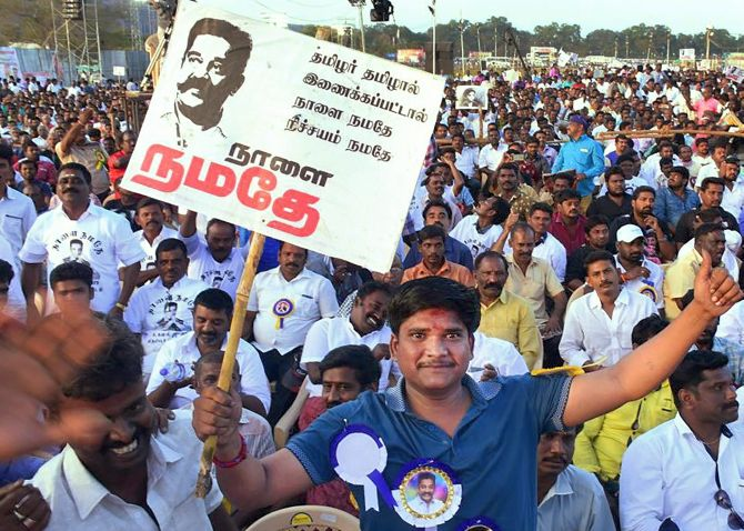 Crowds in Madurai at the launch of Kamal Hassan's Makkal Needhi Maiam political party. Photograph: PTI Photo