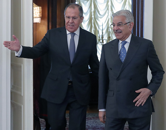 Russian Foreign Minister Sergei Lavrov, left, with his Pakistani counterpart Khawaja Asif after their meeting in Moscow, February 20, 2018. Photograph: Maxim Shemetov/Reuters