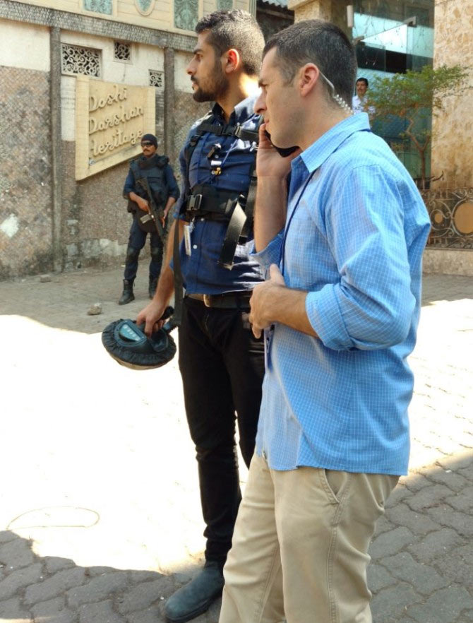 Tense Israeli security personnel survey Hormusji Street, anxious that the location was secure for their leader's visit. Photograph: Vaihayasi Pande Daniel/Rediff.com