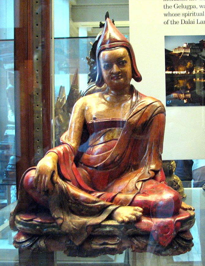 Figure of a seated lama from Ladakh at the British Museum. Photograph: Courtesy Mistvan/Wikimedia Commons.