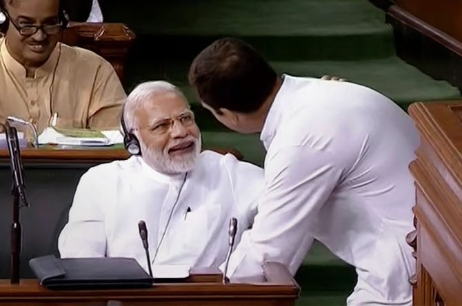 Prime Minister Narendra Damodardas Modi with Congress President Rahul Gandhi during the debate on the no-confidence motion, July 20, 2018.