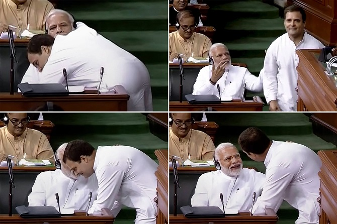 In this combo of four photographs is seen Congress President Rahul Gandhi as he hugs Prime Minister Narendra Damodardas Modi after his speech in the Lok Sabha on the no-confidence motion, July 20, 2018. Photograph: PTI Photo