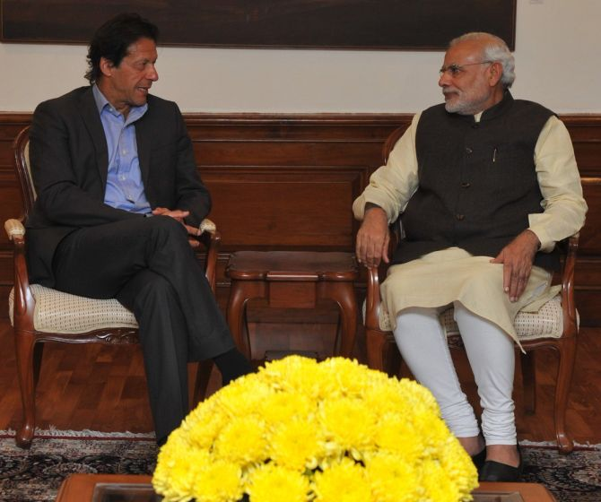 Prime Minister Narendra Damodardas Modi with Imran Khan in New Delhi, December 2015. Photograph: @MEAIndia/Twitter