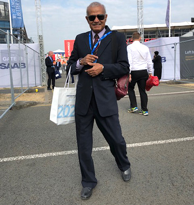 Group Captain Murli Menon (retd) at the Farnborough Airshow, July 20, 2018