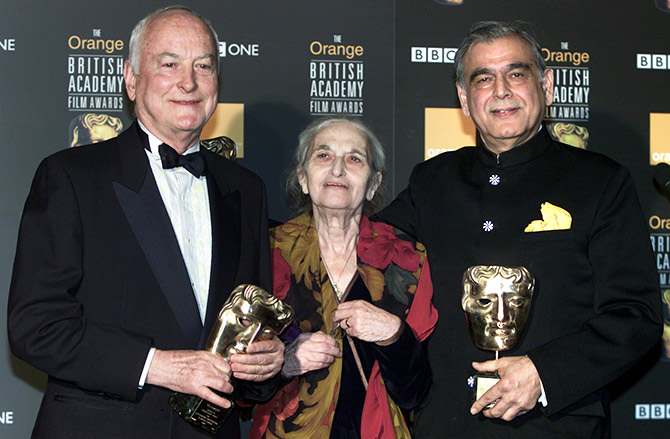 James Ivory, Ruth Prawer Jhabvala and Ismail Merchant, left to right, who together formed Merchant Ivory Productions, receive a British Academy film fellowship at a ceremony in central London, in 2002. Photograph: Michael Crabtree/Reuters
