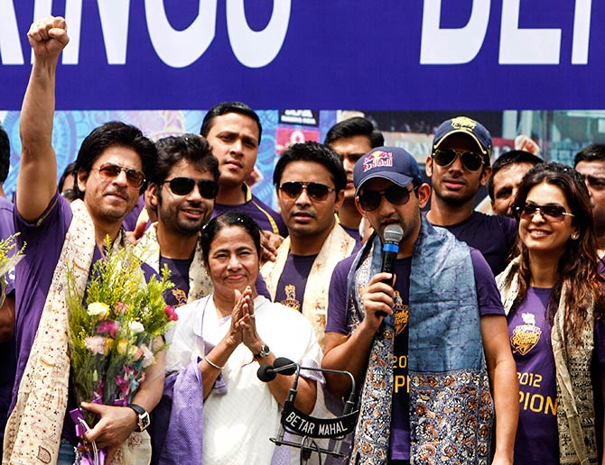 Mamata Banerjee with the Kolkata Knight Riders