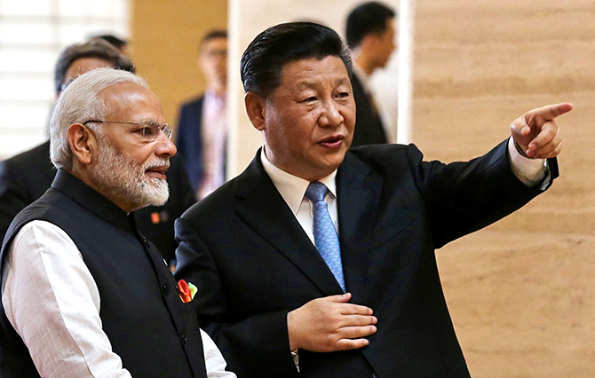 Modi with Chinese President Xi Jinping.