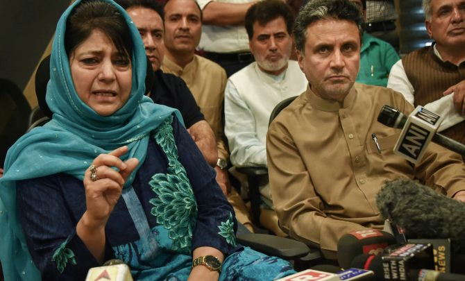 Outgoing Jammu and Kashmir chief minister Mehbooba Mufti addresses a press conference in Srinagar, June 19, 2018. Photograph: S Irfan/PTI Photo