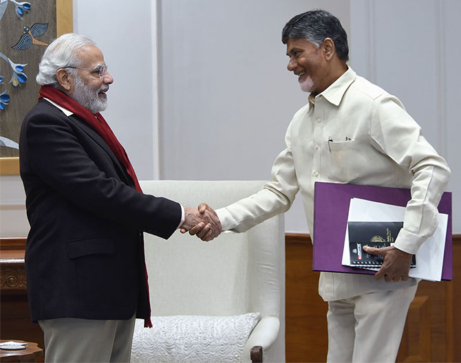 Andhra Pradesh Chief Minister Nara Chandrababu Naidu, right, met Prime Minister Narendra D Modi for the first time in several months, January 12, 2018. Photograph: Press Information Bureau