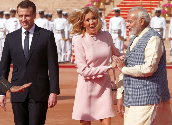 Bonjour Macron! French presidents day out in New Delhi