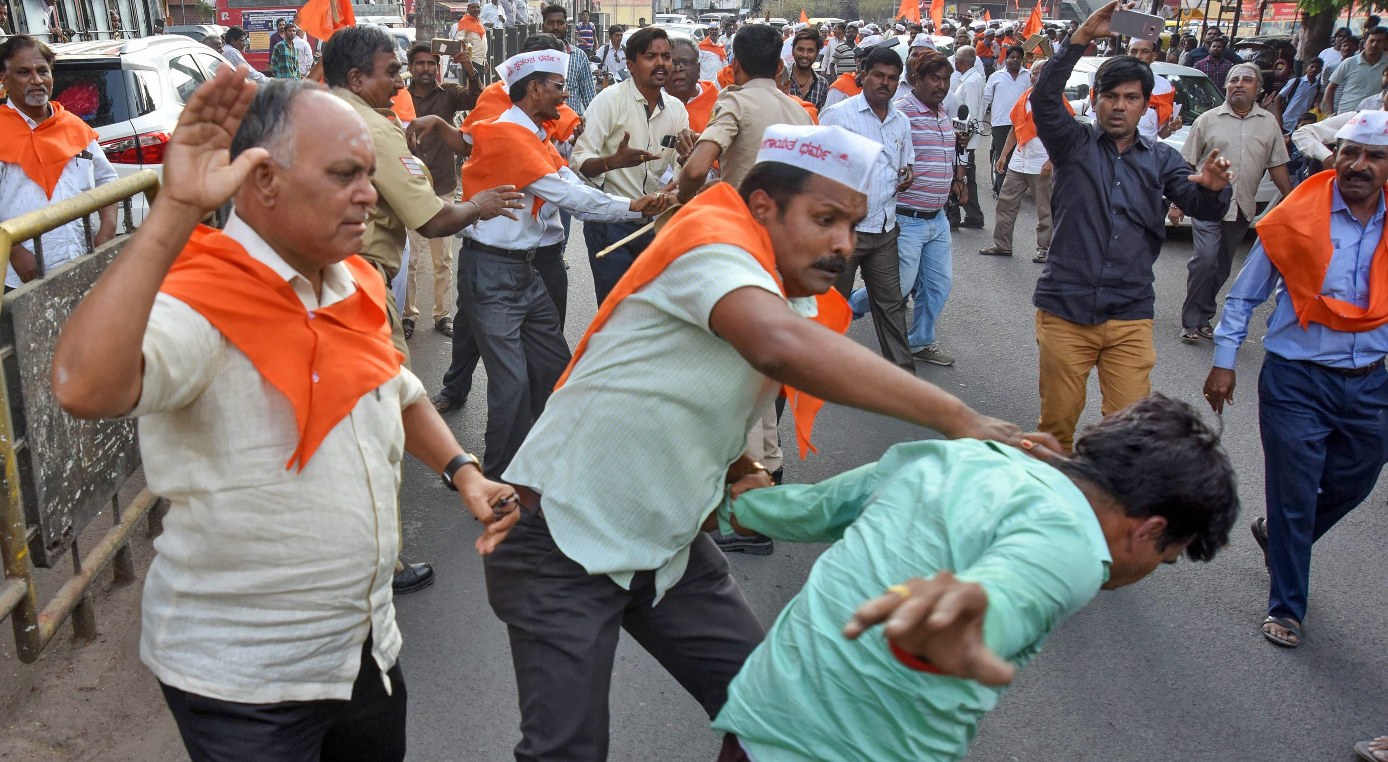 Clashes break out in Kalburgi, March 19, 2018, after the Karnataka government announced that the Lingayats would be granted a separate religion. Photograph: PTI Photo