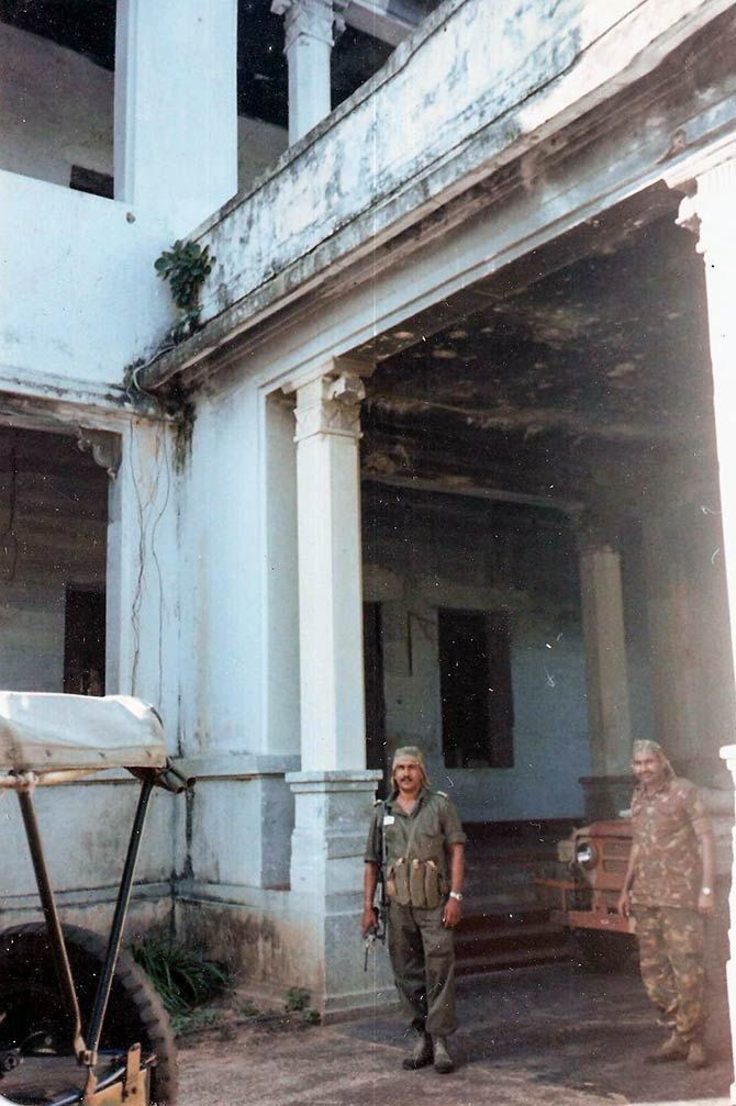 Indian commandos at the burnt Jaffna library, January 1990. Photograph: Colonel Anil A Athale