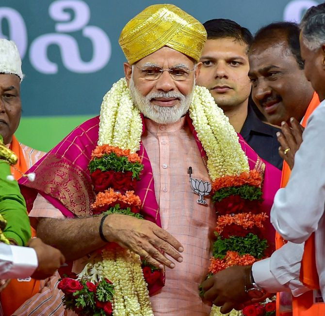 Prime Minister Narendra D Modi being at a rally in Bengaluru. Photograph: Shailendra Bhojak/PTI Photo