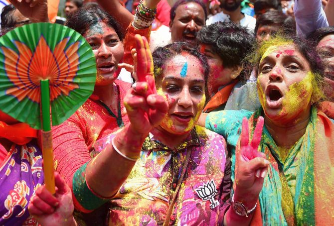 India News - Latest World & Political News - Current News Headlines in India - PHOTOS: BJP celebrates Karnataka outcome