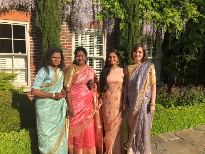 Suhani Jalota in the peach sari, second from right, with Deborah in pink, Archana in green, Imogen in grey -- Suhani's colleagues at the Myna Mahila Foundation -- all set for the Royal Wedding.