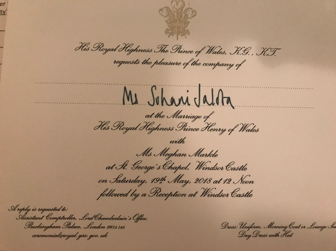 The invitation Suhani received to Prince Harry and Meghan Markle's wedding.