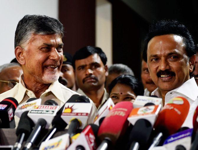 Naidu visits Stalin to bolster anti-BJP front bid - Rediff com India
