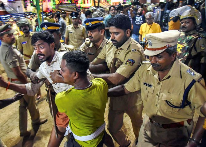 Sabarimala: 8 taken into preventive custody; UDF leader booked