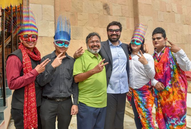 Keshav Suri, third from right, one of the petitioners in the Section 377 case, along with other LGBTQ activists, celebrate the Supreme Court verdict that decriminalises consensual gay sex, New Delhi, September 6, 2018. Photograph: Manvender Vashist/PTI Photo