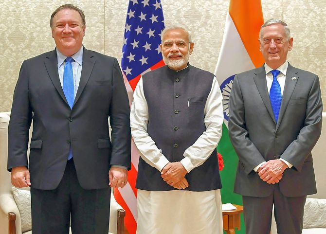 Prime Minister Narendra Damodardas Modi flanked by US Secretary of State Michael R Pompeo, left, and US Secretary of Defence General James Mattis, right, in New Delhi after the 2+2 dialogue, September 6, 2018. Photograph: Press Information Bureau