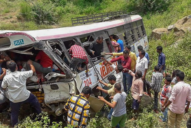 India News - Latest World & Political News - Current News Headlines in India - 57 killed as bus falls into valley in Telangana
