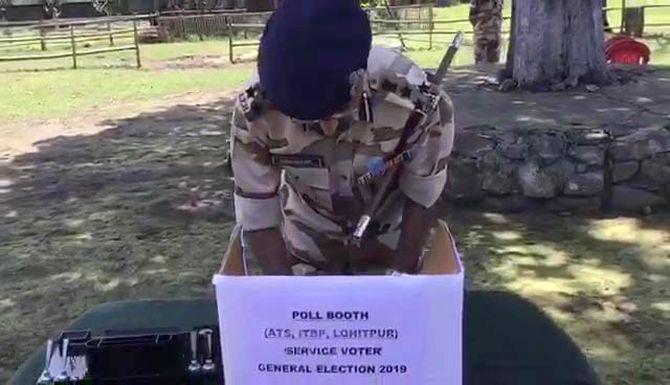 ITBP soldiers cast 1st vote of 2019 polls in Arunachal