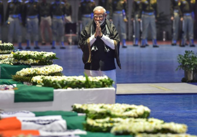 PHOTOS: Modi, Rahul pay tribute to slain CRPF men - Rediff com India