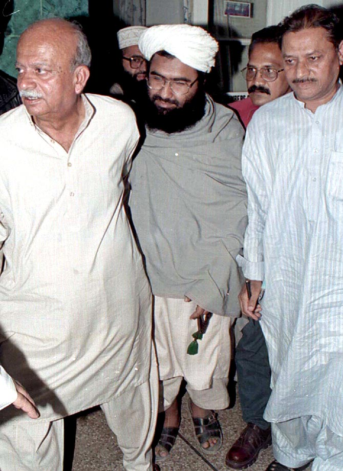February 4, 2000: Masood Azhar leaves the Karachi press club after a news conference where he announced the founding of the Jaish e Mohammad. He had been freed from an Indian prison along with two other terrorists in exchange for the passengers and crew of the hijacked Indian Airlines flight IC-814. Photograph: Reuters