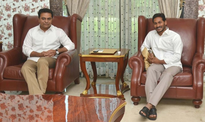 PIX: KCR's son meets Jagan Reddy to build up 3rd front