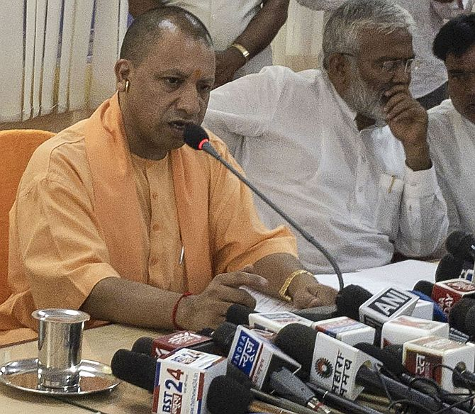 Adityanath meets affected families in Sonbhadra