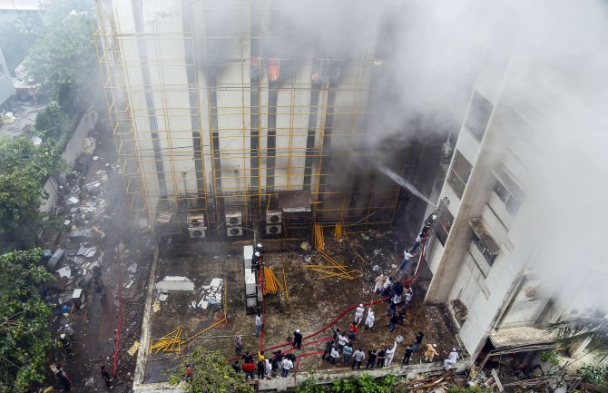 Cooling ops on at fire-hit MTNL building in Mumbai