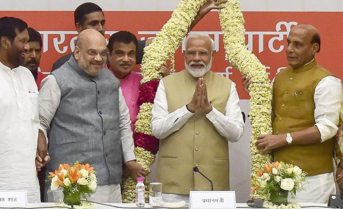 Modi, Shah thank ministers for 'service to nation'