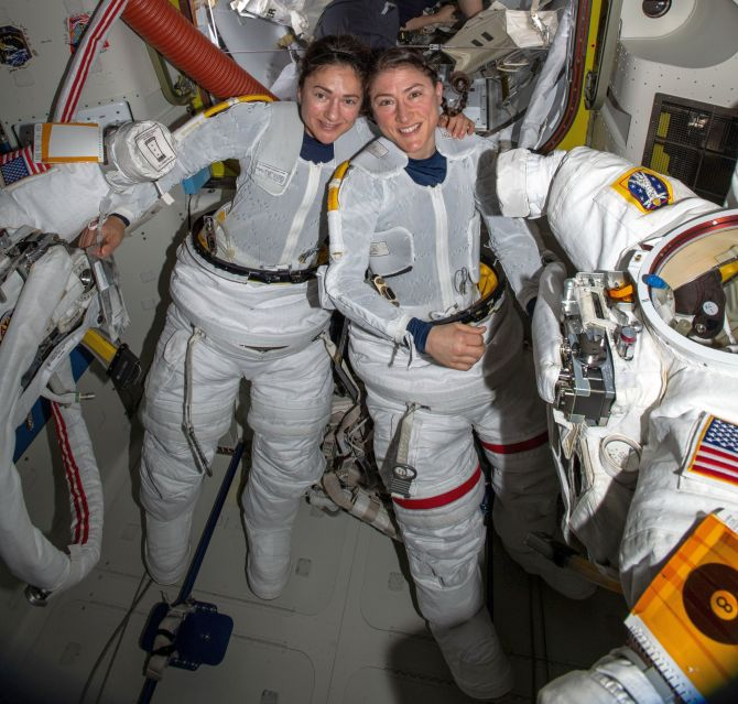 In a first, NASA conducts all-female spacewalk