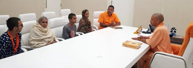 UP CM Adityanath meets Kamlesh Tiwari's family