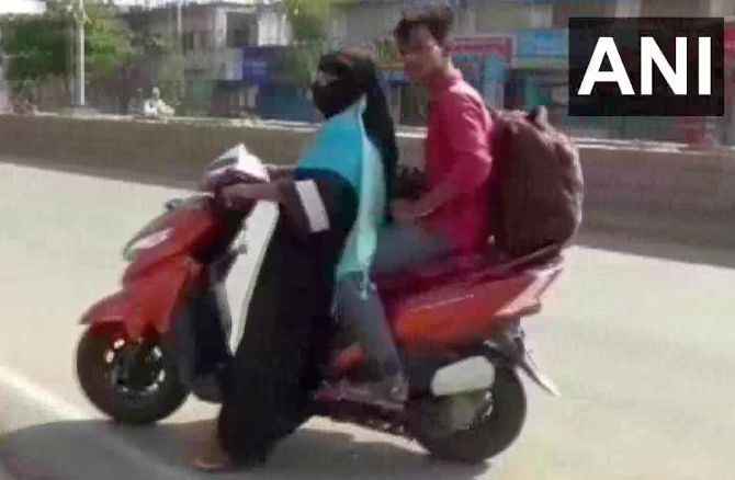 Woman rides 1,400 km to bring back stranded son