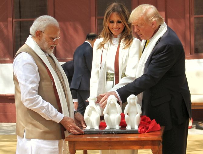 'Three wise monkeys' statue, charkha gifted to Trump