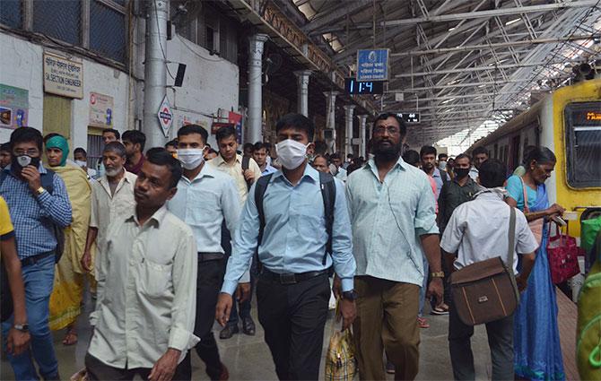 Commuters at the Chhatrapati Shivaji Maharaj terminus in Mumbai. Photograph: Arun Patil