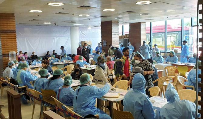 Screening of passengers at Delhi airport, March 22, 2020. Photograph: PTI Photo