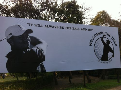 A billboard welcoming Tiger Woods