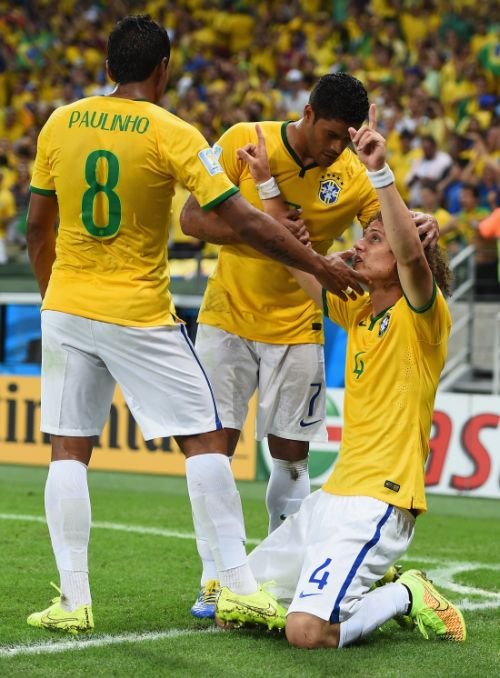 Brazil's David Luiz (No 4) celebrates scoring his team's second goal