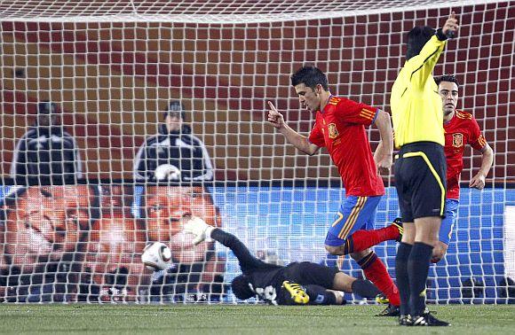 Spain's David Villa celebrates scoring a goal
