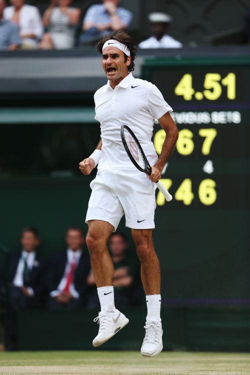 Roger Federer of Switzerland reacts after winning a point