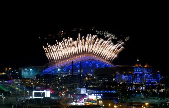 Fireworks on display over Fisht Olympic Stadium in the Olympic Park during the Opening Ceremony of the Sochi 2014 Winter Olympics