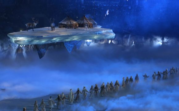 Actors perform during the opening ceremony of the 2014 Sochi Winter Olympics