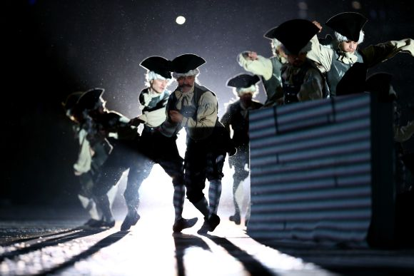 Actors perform as characters from the time of Peter the Great during the Opening Ceremony of the Sochi 2014 Winter Olympics