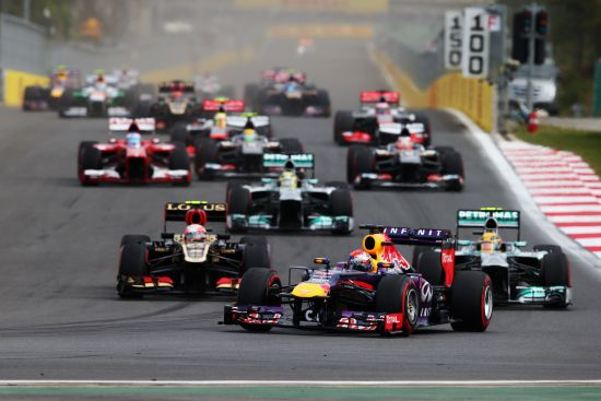 Formula One cars race during a Grand Prix